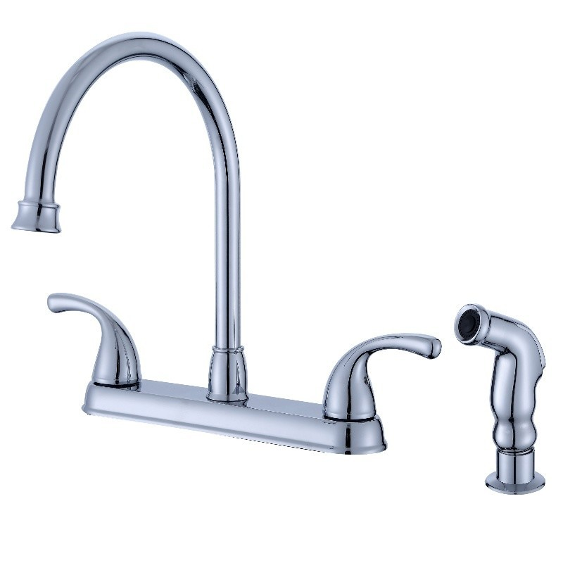 Two Handle Chrome Kitchen Sink Faucet With Sprayer
