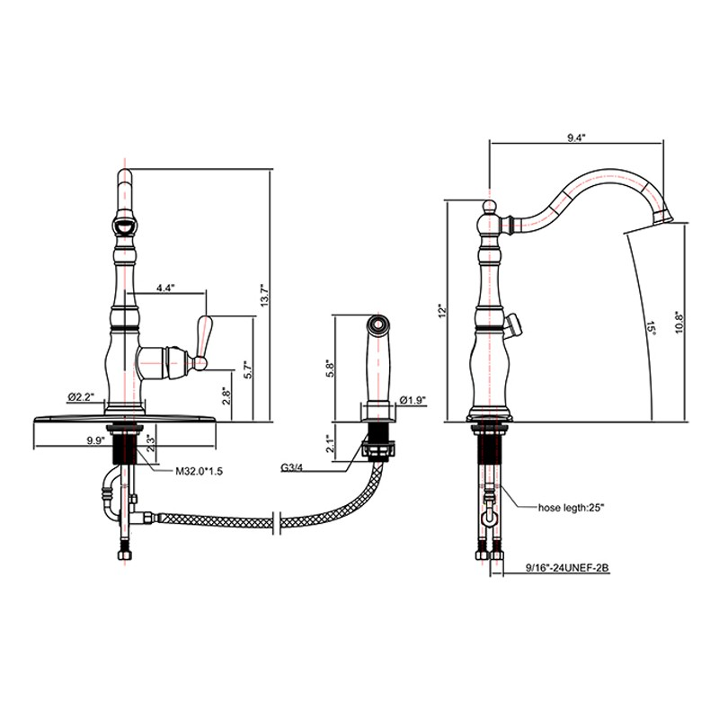 Single Handle Kitchen Faucet With Side Sprayer Manufacturers, Single Handle Kitchen Faucet With Side Sprayer Factory, Supply Single Handle Kitchen Faucet With Side Sprayer