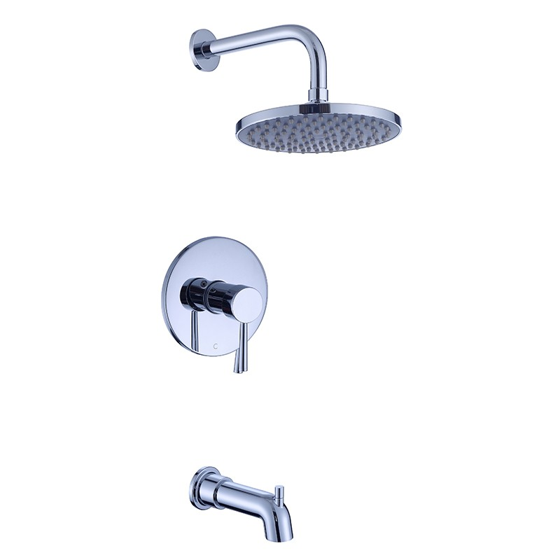 Tub Spout Shower System With Rain Shower Head And Handheld Shower Head