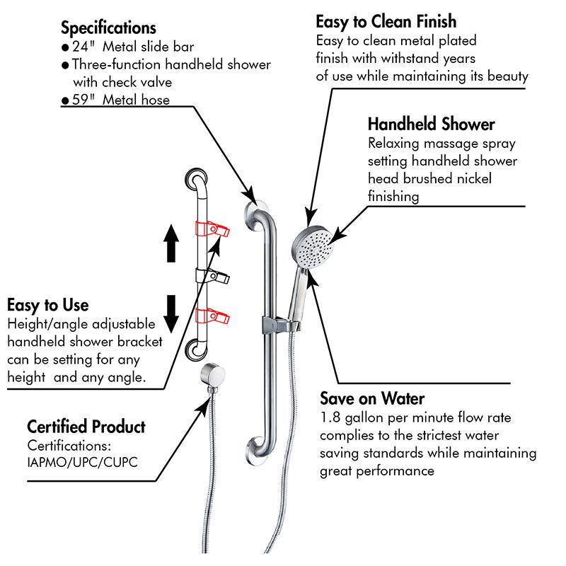 grab bar shower head set