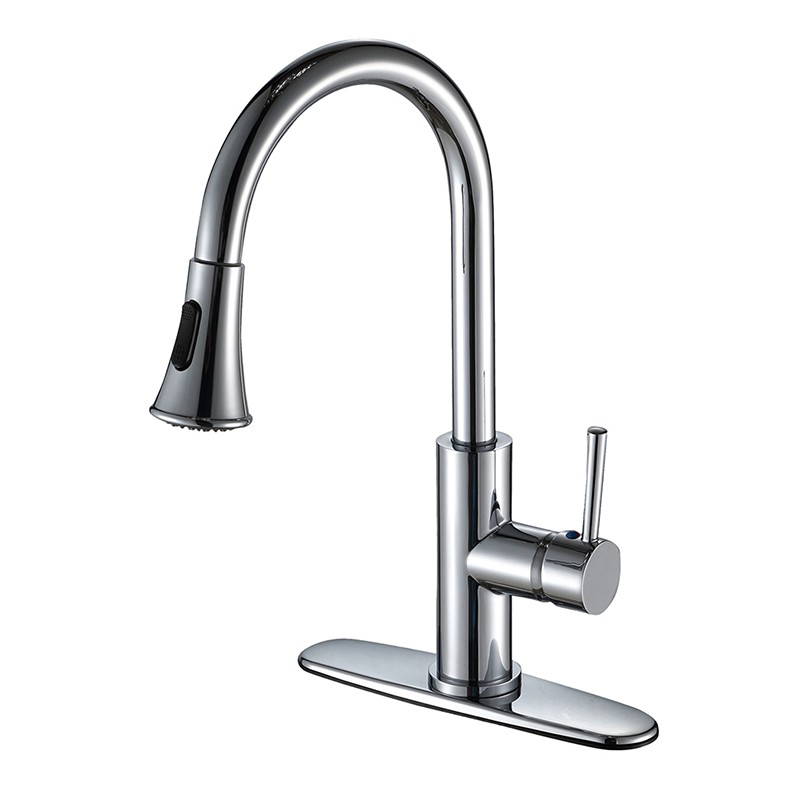 Single Handle High Arc Kitchen Faucet With Pull Down Sprayer