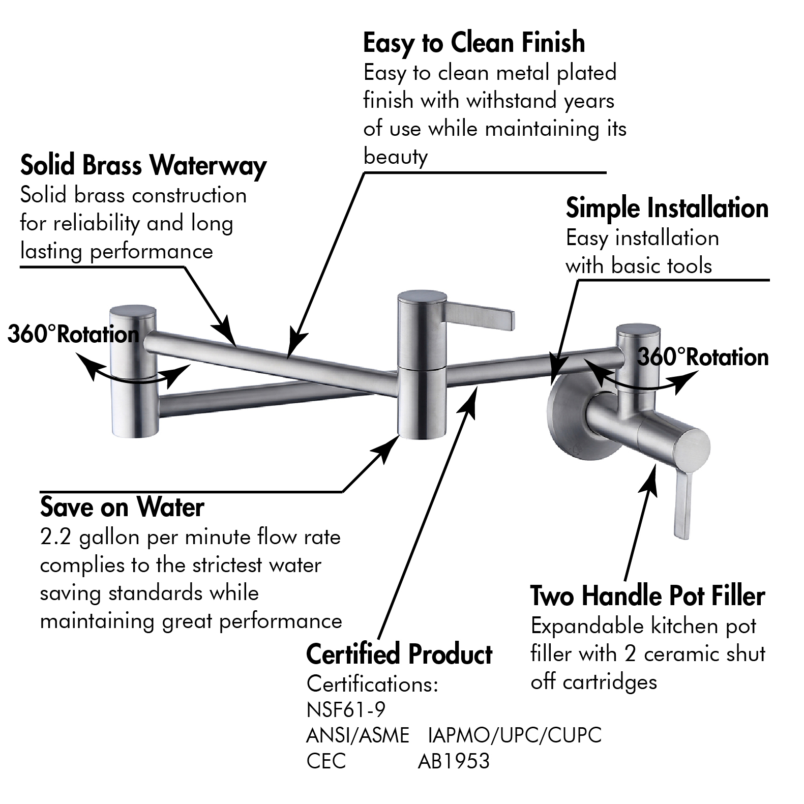 2019 Best-Selling Wall Mount Pot Filler Double Joint Swing Arm Kitchen Faucet