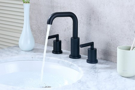 2019 New Two Handle Three-Hole Matte Black Bathroom Vanity Sink Faucet