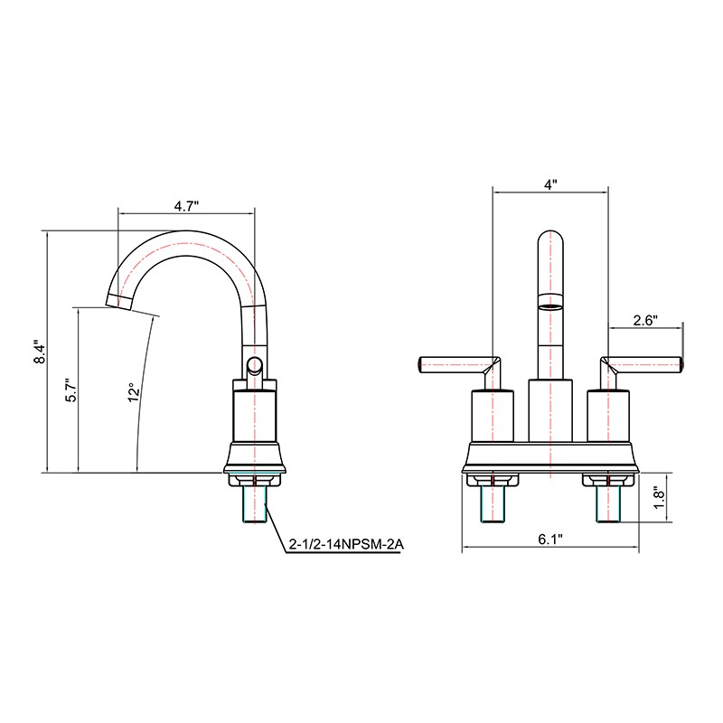4 Inch Two Handle Bathroom Faucet Manufacturers, 4 Inch Two Handle Bathroom Faucet Factory, Supply 4 Inch Two Handle Bathroom Faucet