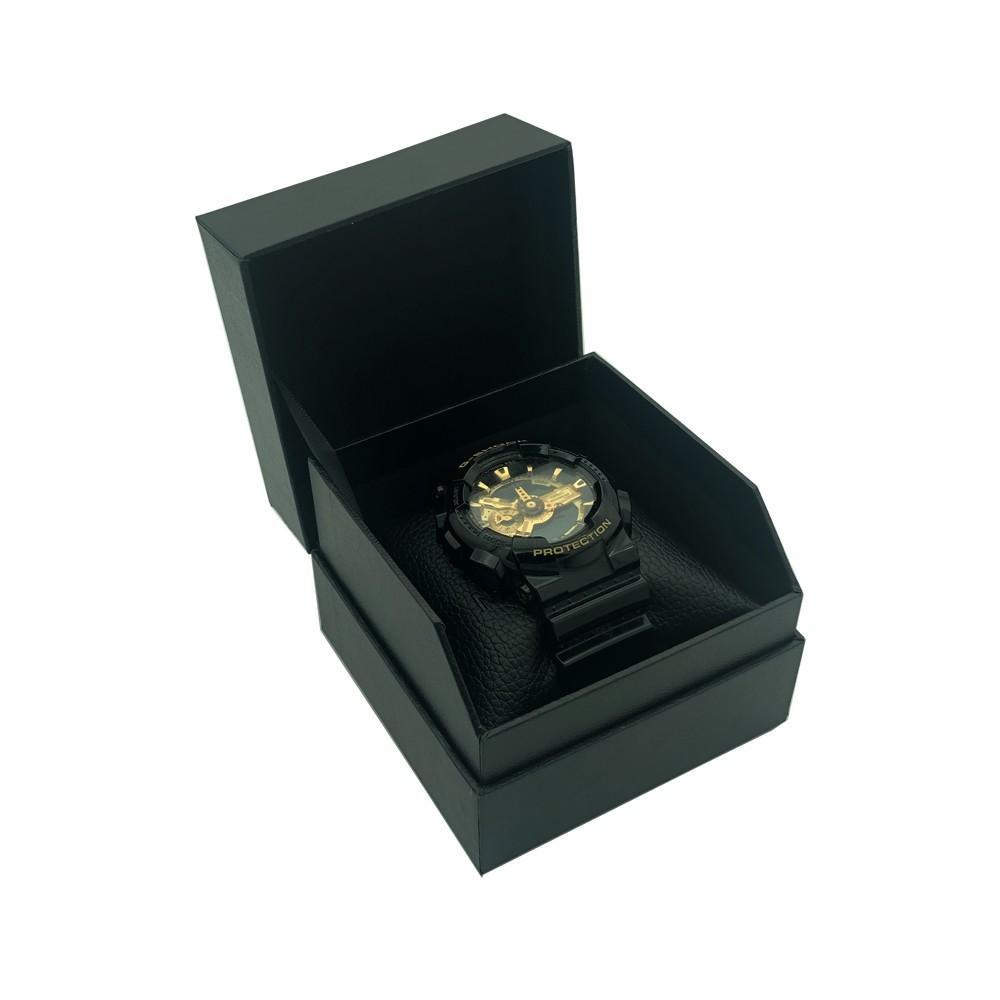 Caja de reloj de empaquetado de papel del regalo del logotipo negro