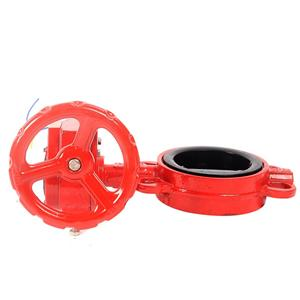 FM Certificated 300psi Grooved End Cast Iron Wafer Type Water Butterflyvalve With Signal Gearbox For Fire Fighting