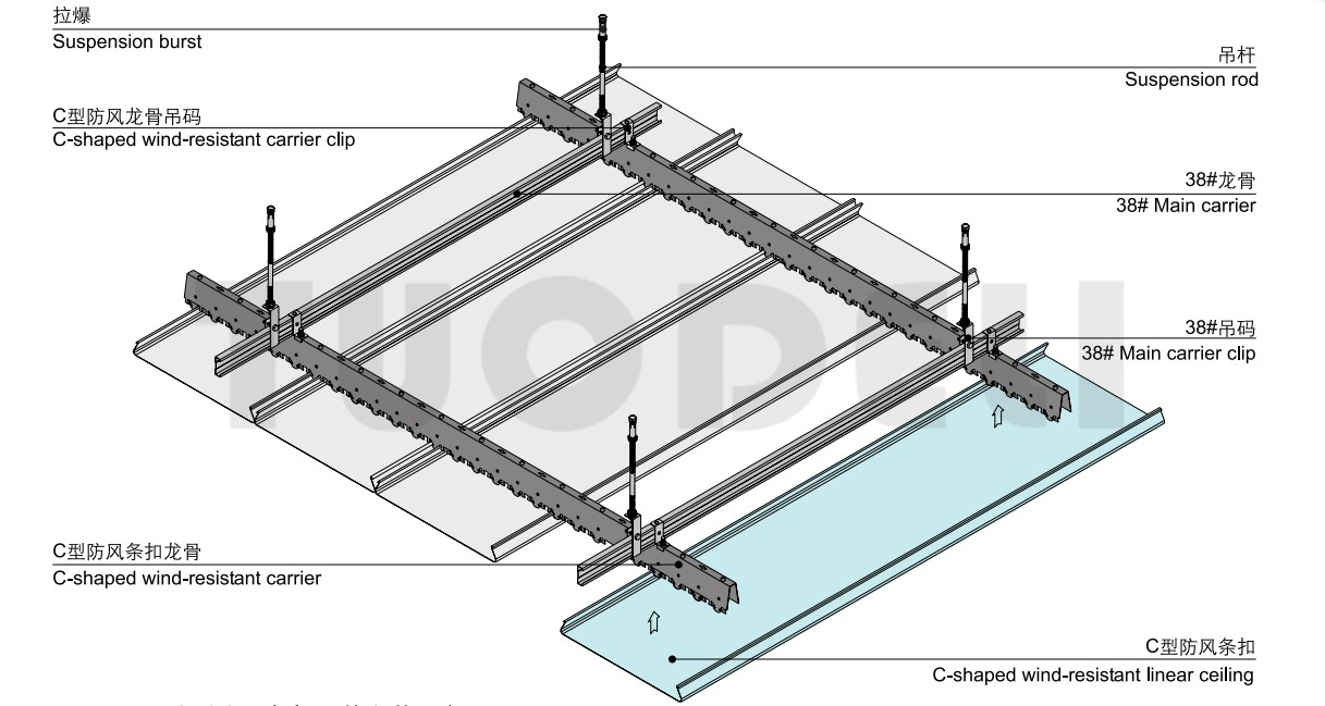 C-shaped Wind-resistant Linear Ceiling