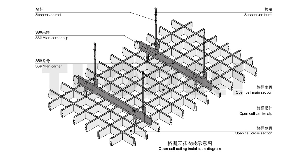 Galvanized ceiling grid systems