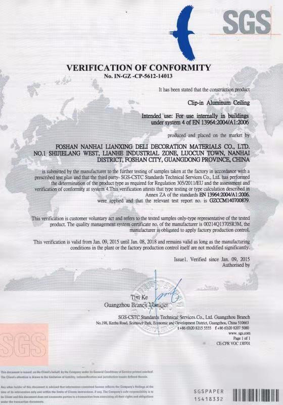 SGS Verification Of Conformity