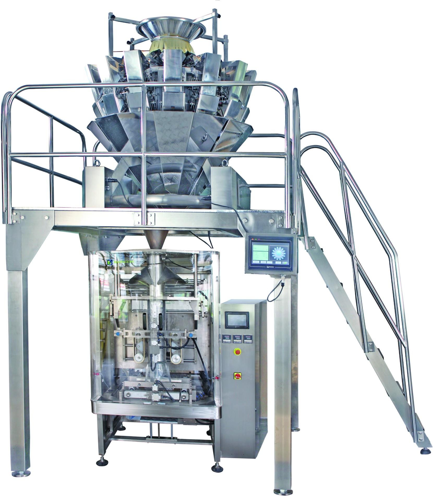 Máy đóng gói với 14 đầu cân và thang máy loại Z để đóng gói thực phẩm đông lạnh như thịt viên và đùi