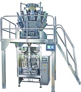 Packing machine with 14 heads weigher and Z-type elevator to pack frozen food like meatball and drumsticks