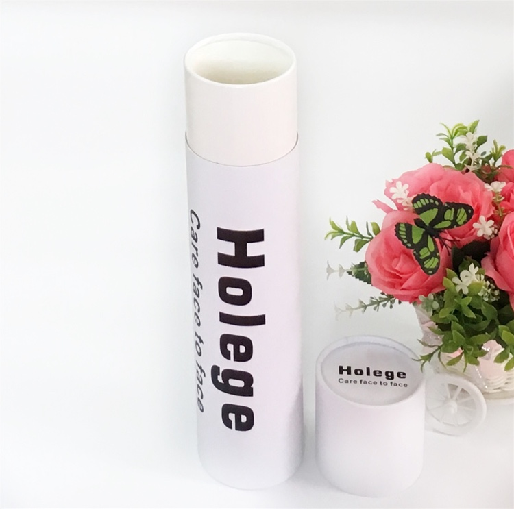 White Cardboard Cylinder Small Tube Box Packaging With Lids