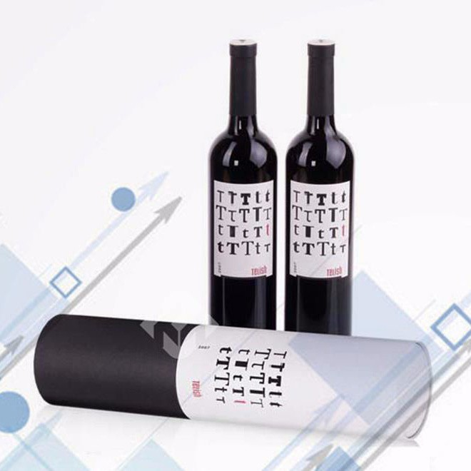 White Cylindrical Tube Packaging Box For Wine Glass