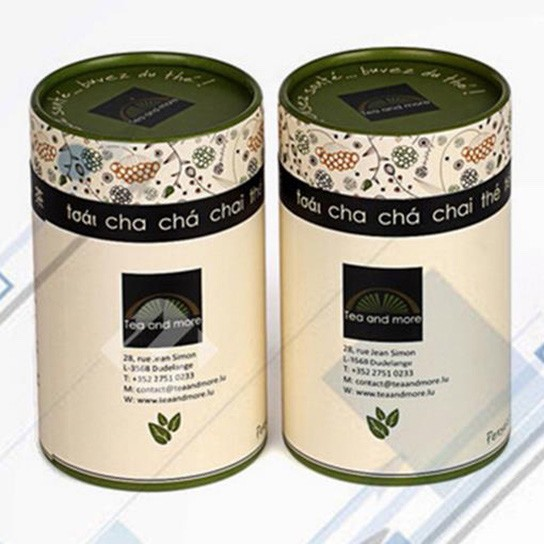 Round Cardboard Tea Tube Packaging With Lids