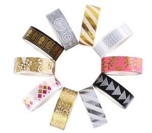 Custom Rolls Foil Washi Tape Manufacturer, 15mm Wide Gold Colored Metallic DIY Craft Washi Masking Tape