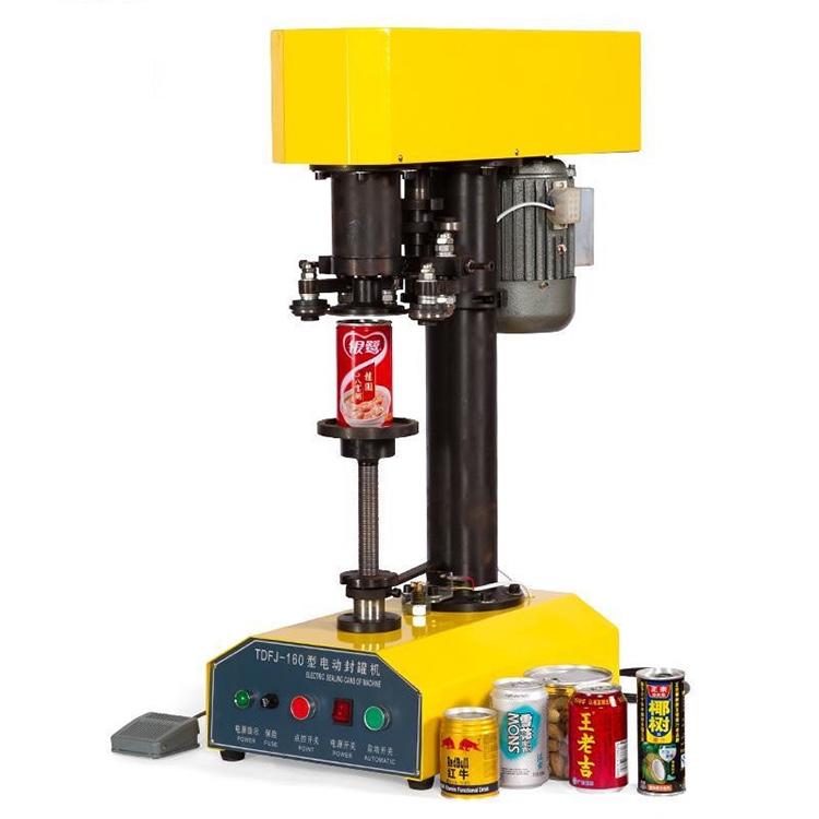 TDFJ-160 bordsskiva automatisk behållare kapsling maskin burkar tätningsmaskin, pappersburkar PET plast tank täcka kruka metall maskin