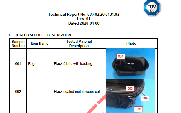 Products comply to REACH testing report