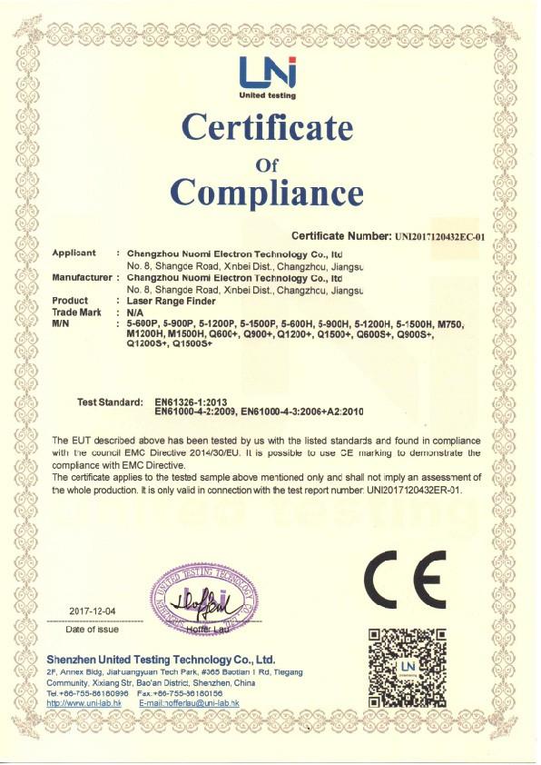 CE para telémetro láser