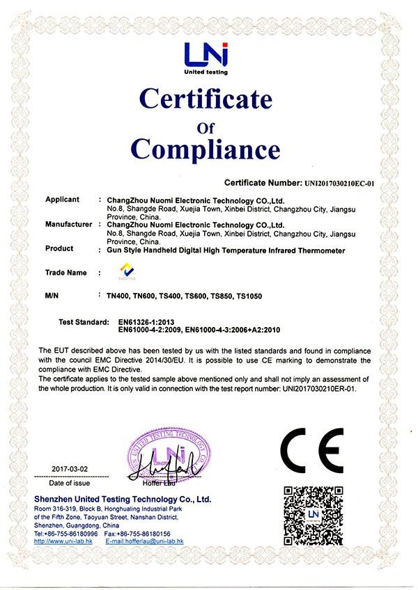 CE para termómetro infrarrojo