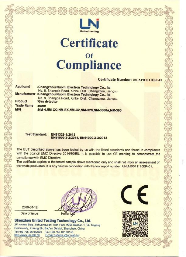 CE para detector de gas