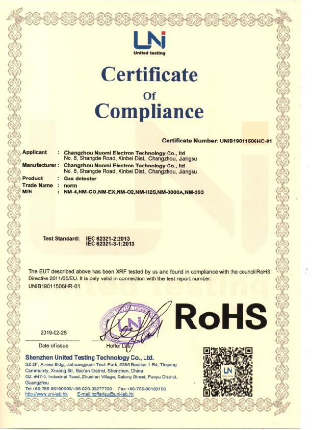 ROHS para detector de gas