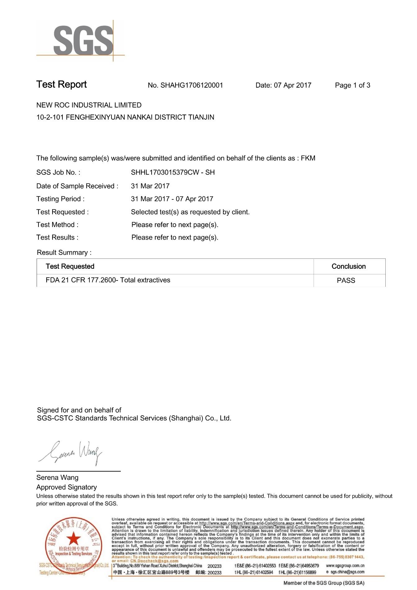 FDA certification for FKM