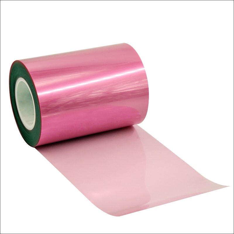 Pink Heavy Peeling Force PET Release Liner For Frame Adhesive Die cutting