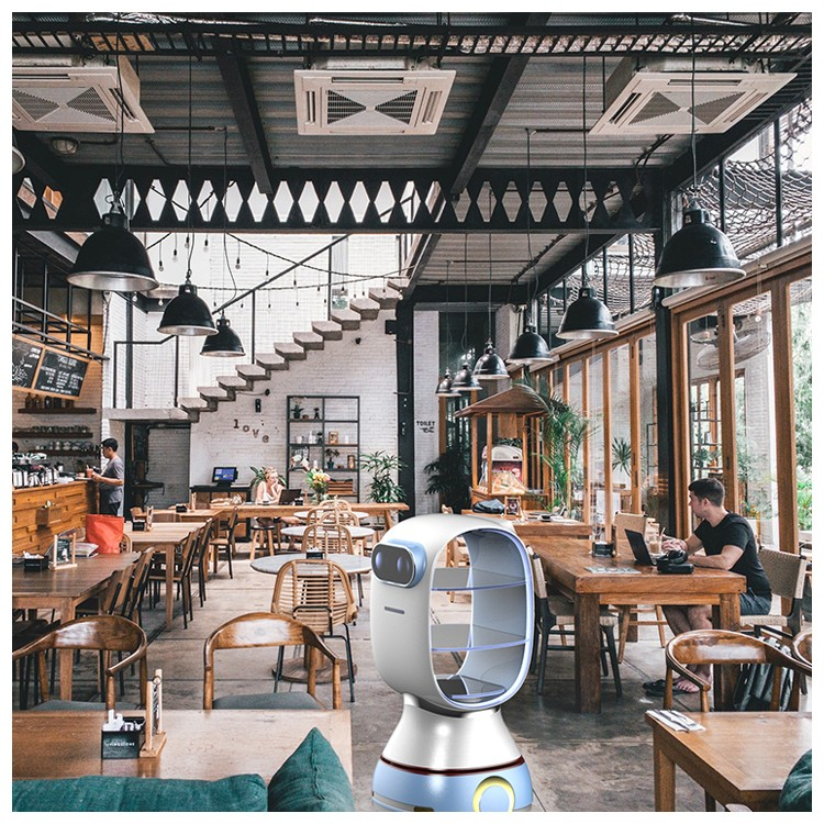 Intelligent restaurant food dish delivery humanoid smart automatic robot camarero robot waiter