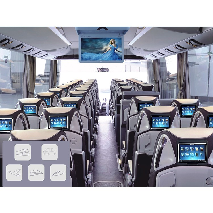 Bus Seat Entertainment System Coach Video 10.1 inch Monitor Headrest Multimedia Player Bus Android Vod Screen