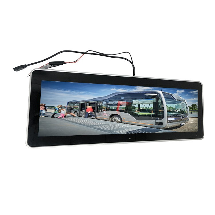 Strip Flat Screen Monitor Display 24V Tempered Glass Wide Viewing Advertising 1080p Sunlight Readable Bar Lcd For Bus Train