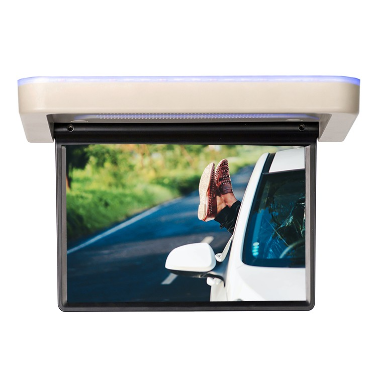 13.3 inch Roof Flip Down TV 12V Touch Screen Support 8K Video Play Android 9.0, 8-Core Motorized Display For Mini bus