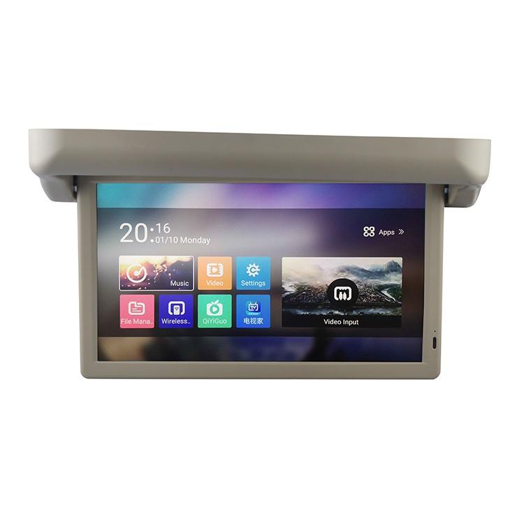 Original factory 15.6 inch flip down Android bus car motorized roof mounting monitor Full HD 1080P AV MP5 bus car TV screen