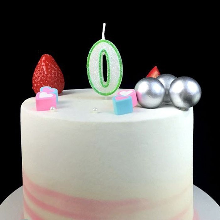Special Hand Painted Small Green Glitter Number Shaped Birthday Candles