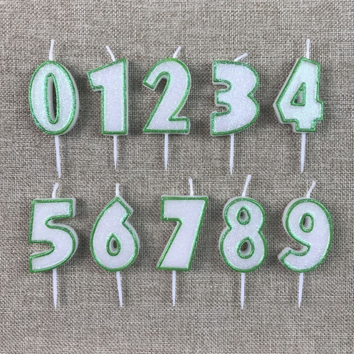 Special Hand Painted Small Green Glitter Number Shaped Birthday Candles Manufacturers, Special Hand Painted Small Green Glitter Number Shaped Birthday Candles Factory, Supply Special Hand Painted Small Green Glitter Number Shaped Birthday Candles