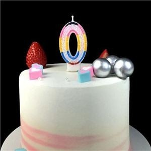 Double-Face Paraffin Colorful Glitter Number Birthday Cake Candle