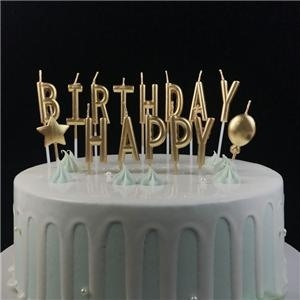 Individual Gold Letter Shaped Happy Birthday Candles
