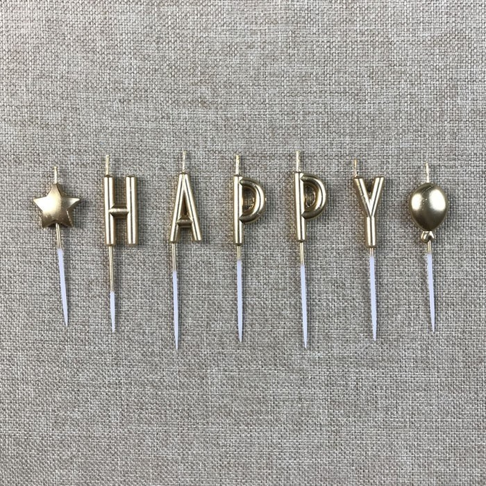 Individual Gold Letter Shaped Happy Birthday Candles Manufacturers, Individual Gold Letter Shaped Happy Birthday Candles Factory, Supply Individual Gold Letter Shaped Happy Birthday Candles