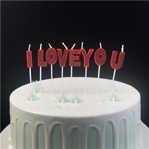 Fantaisie je t'aime bougie d'anniversaire en forme de lettre