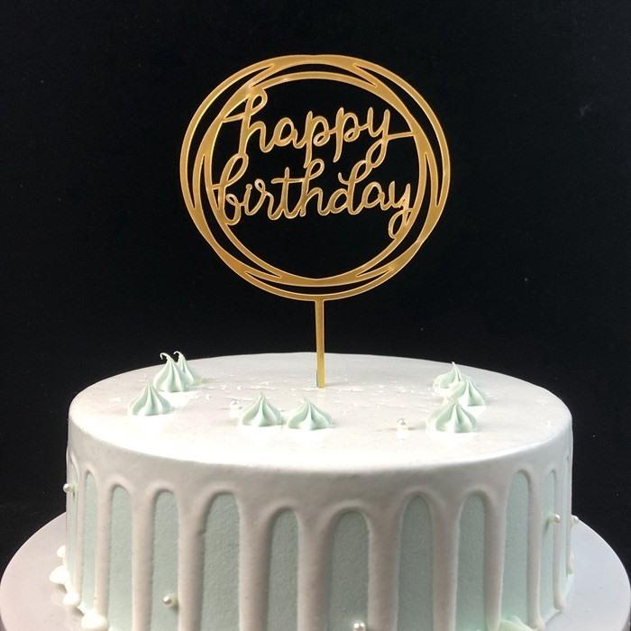 Dessus de gâteau acrylique personnalisé Joyeux anniversaire doré