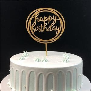 Egyedi boldog születésnapot arany akril torta Topper