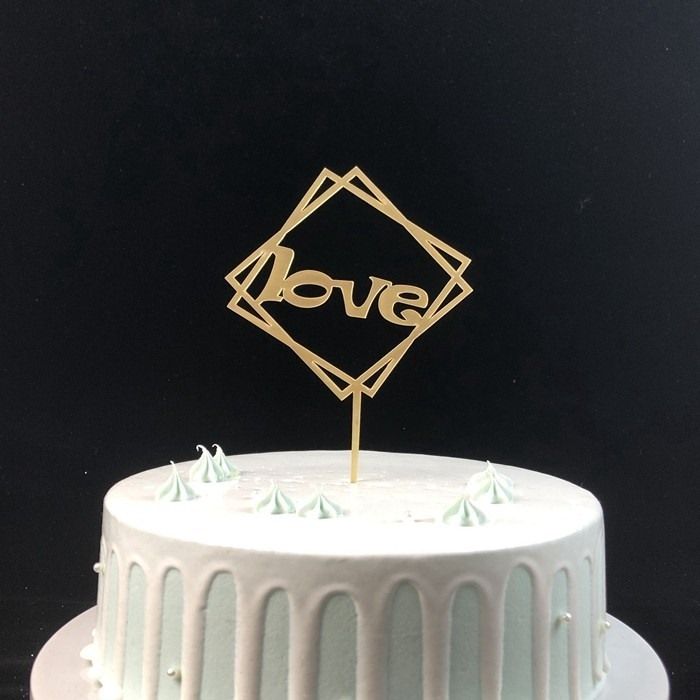 Custom Gold Happy Anniversary Love Acrylic Cake Topper Stick