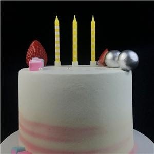 New Decorative Yellow Pure Paraffin Birthday Candle For Cake
