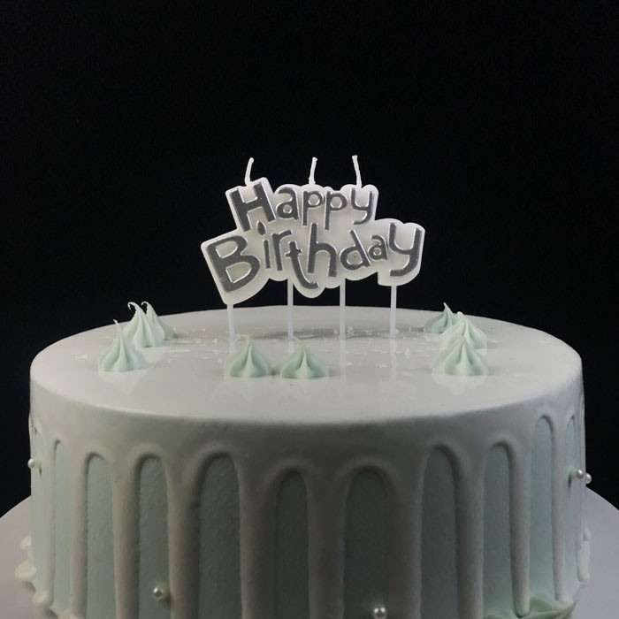 Silver Paraffin Wax Happy Birthday Plaque Candle