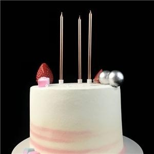 10CM Tall Long Fancy Rose Gold Happy Birthday Party Cake Candles