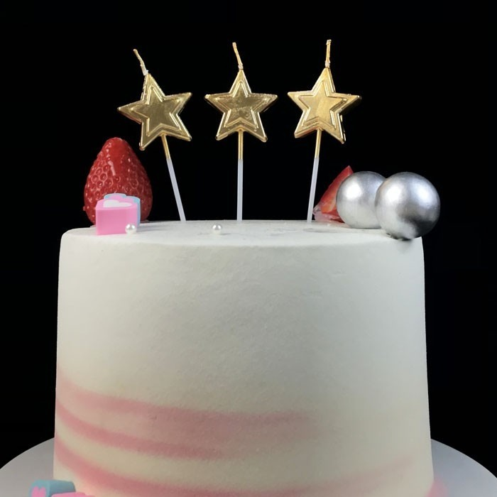 Top Gold Star Shaped Birthday Candles On A Stick