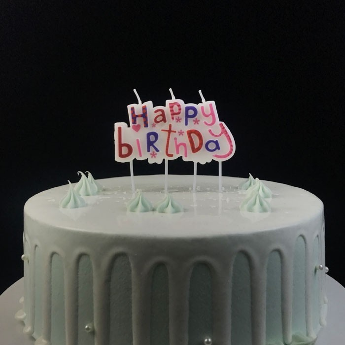 Elegant Happy Birthday Wax Plaque Candle For Cake