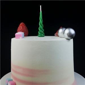 Bougie de gâteau d'anniversaire en forme de corne de licorne verte