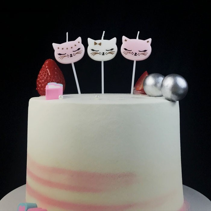 Cartoon Cat Birthday Cake Candle For Girls
