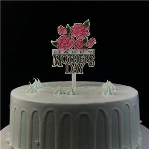 Happy Mother's Day Flowers Plastic Cake Topper Sticks Decoration