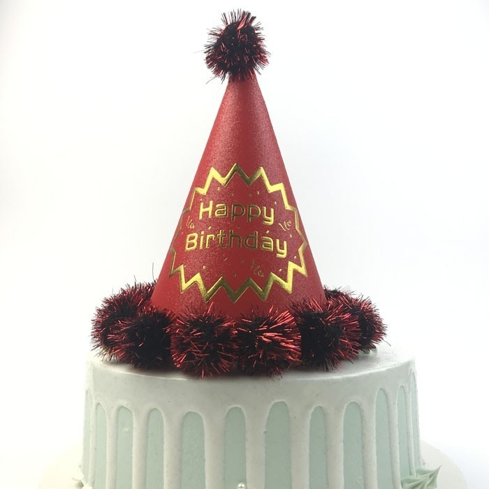 Red Paper Happy Birthday Celebration Cap For Girl